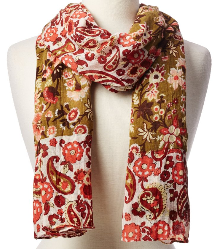 Cotton Scarf, Olive/Coral