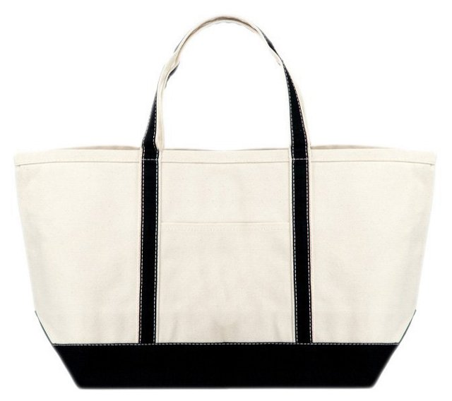 Large Canvas Boat Bag, Black Trim
