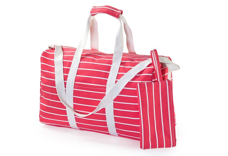 Striped Duffel, Red/White
