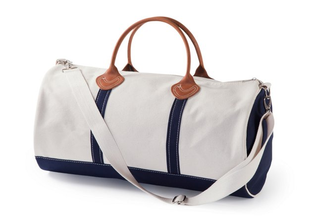 Round Canvas Duffel, Natural/Navy