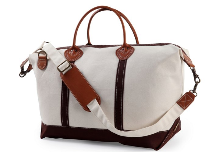 Canvas Weekender Satchel, Natural/Maroon