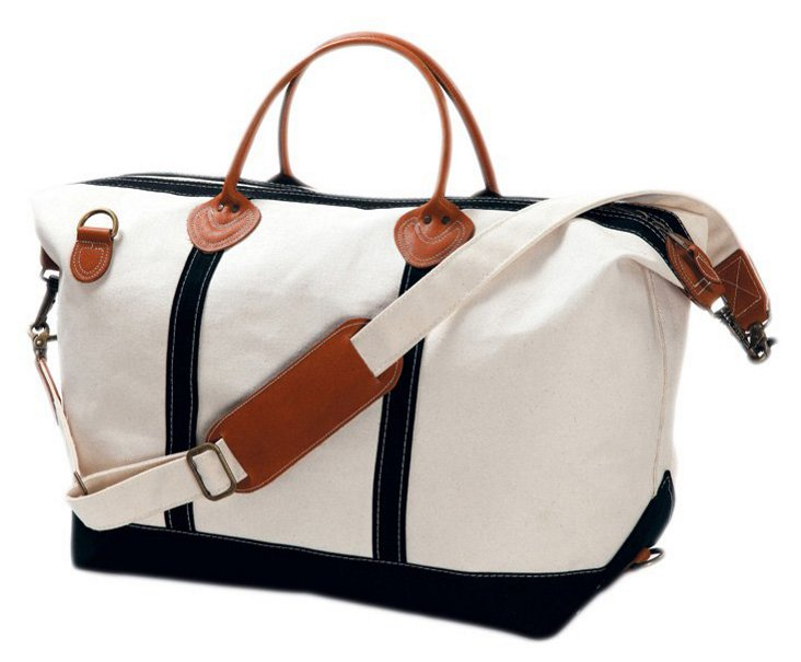 Canvas Weekender Satchel, Natural/Black