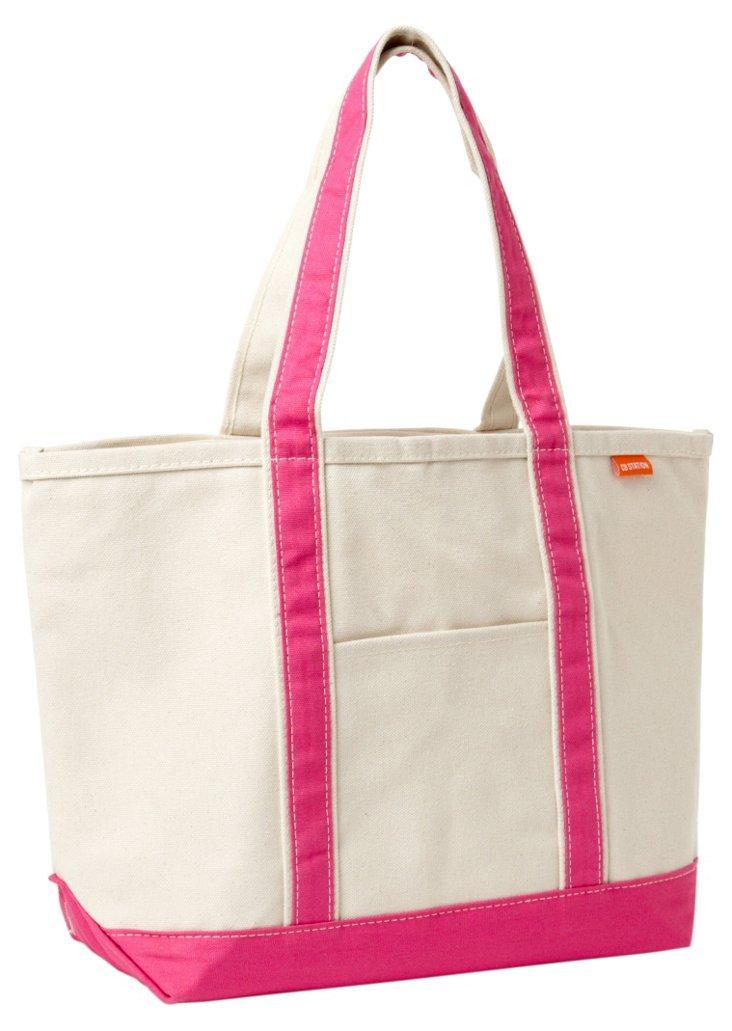 Medium Boat Bag, Pink Trim