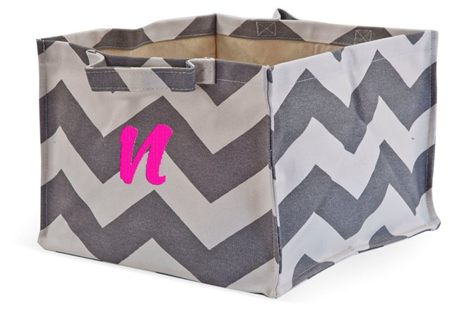 Chevron Monogram Tote, Gray