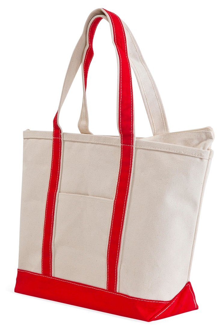 Large Boat Tote, Natural/Red