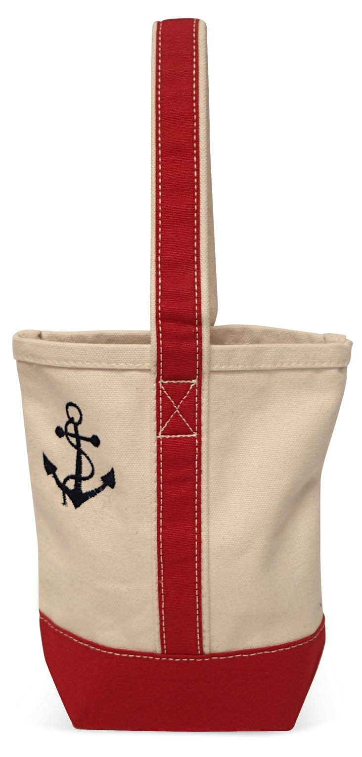 """10"""" Anchor Wine Tote, Red/Natural"""