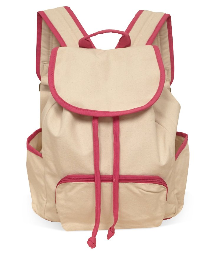 Canvas Backpack, Natural/Fuchsia