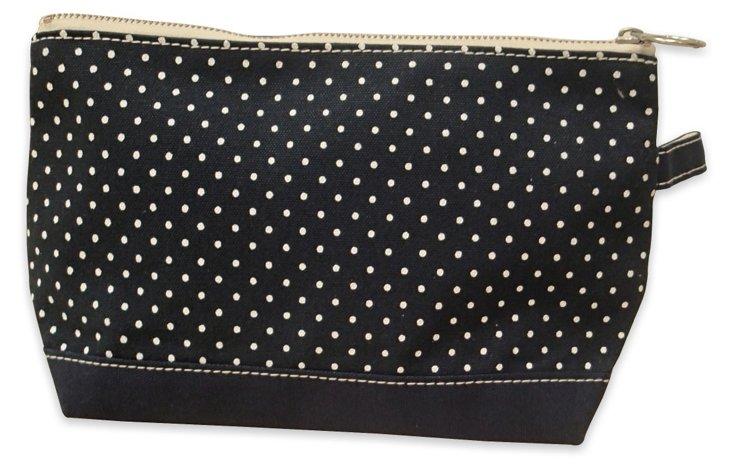 S/2 Polka Dot Makeup Bags, Navy
