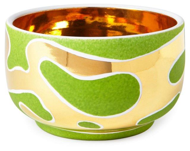 "6"" Lava Chubby Bowl, Green/Gold"