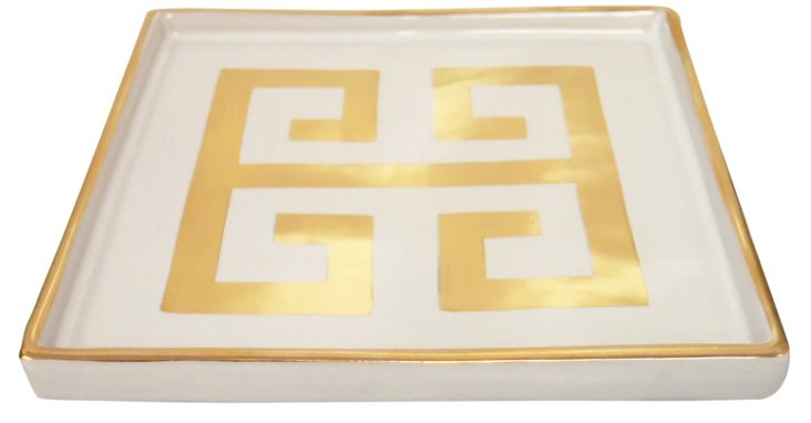 "7"" Greek Key Bathroom Tray, Gold/White"