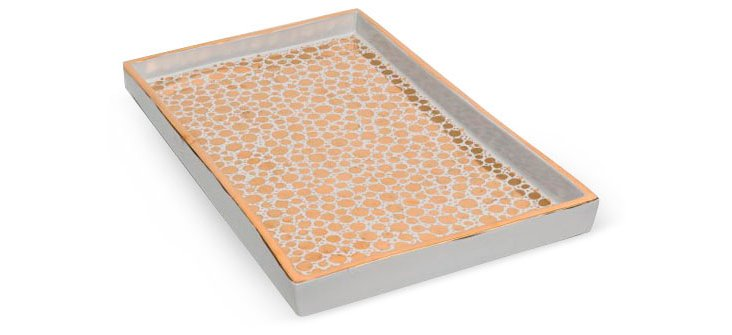 "9"" Dot Serving Tray, Gold"