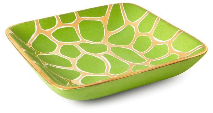 "7"" Giraffe Print Square Tray, Green/Gold"