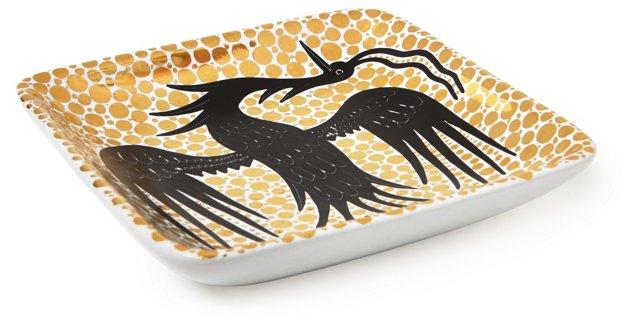 "5"" Square Bird Plate, Gold/Black"