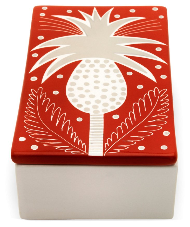 """7"""" Pineapple Rectangle Box, Red"""