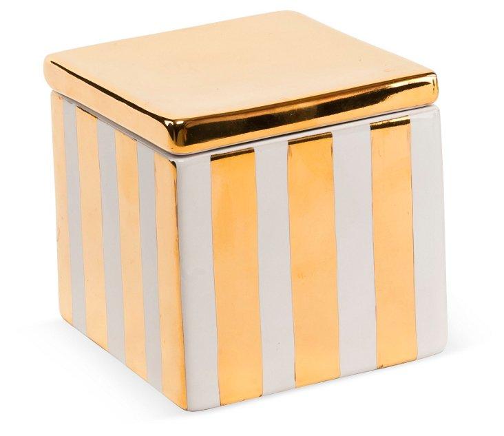"4"" Vertical Stripe Box, Gold/White"