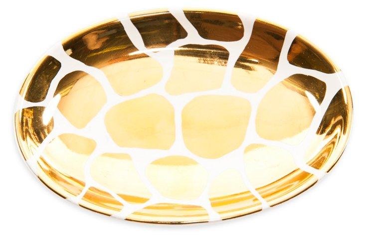 "6"" Mod Giraffe Print Dish, Gold/White"