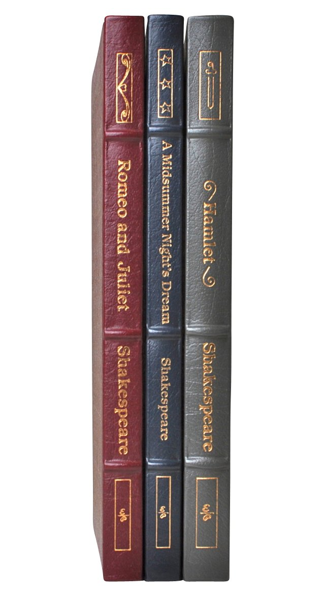 S/3 Shakespeare Leather-Bound Books