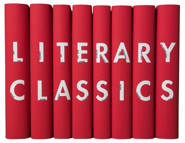 S/8 Literary Classics Book Set, Red
