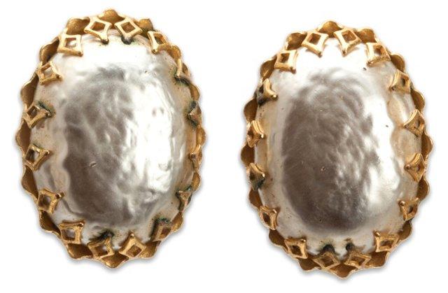 Miriam Haskell Oval Faux-Pearl Earrings
