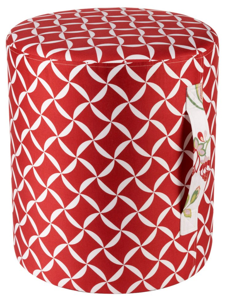 Charlie Taylor  Round Pouf, Red