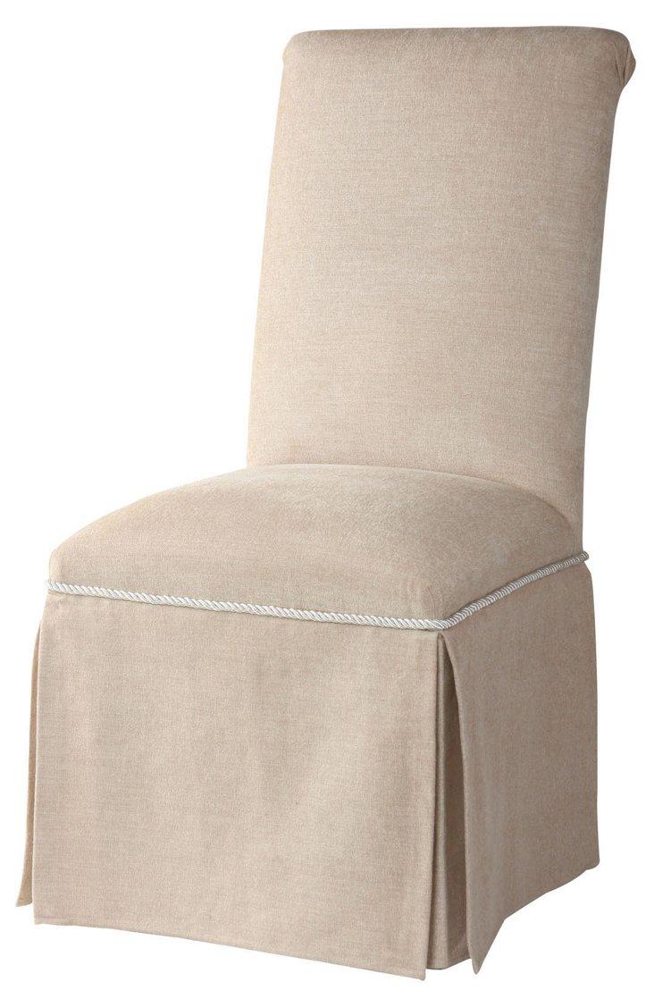 Erika Skirted Side Chair, Beige