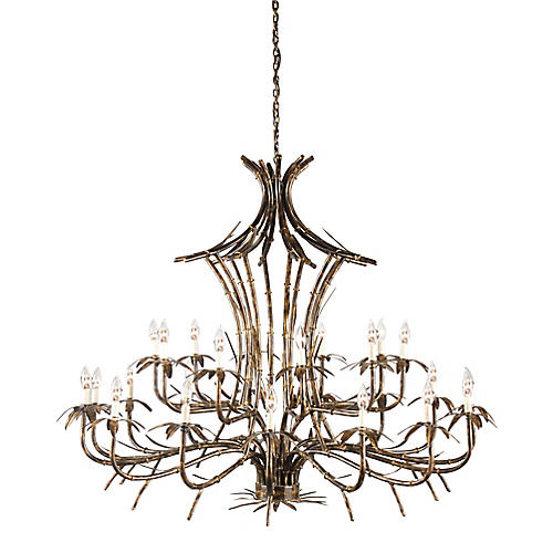 Bronze Bamboo Chandelier, Old Gold