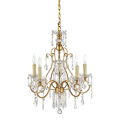 Gold And Crystals 5-Light Chandelier