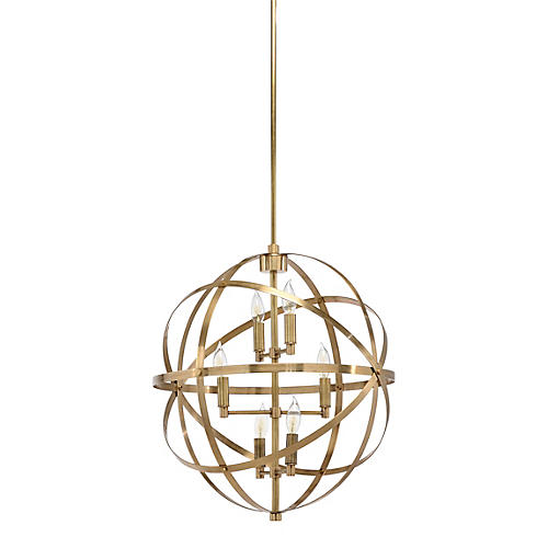 Orbit 6-Light Pendant, Brass