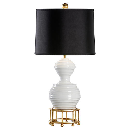 Bee Skep Table Lamp, White/Gold/Black