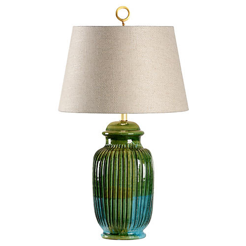 San Michele Table Lamp, Aquamarine Glaze