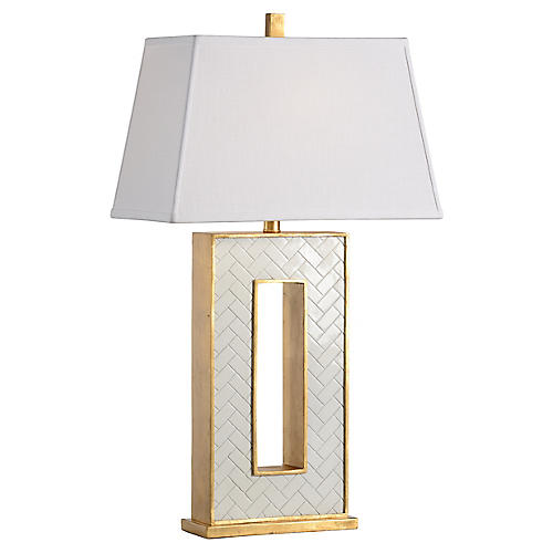 Arrondelle Table Lamp, White/Gold