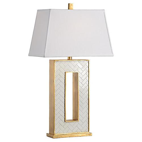 Arrondelle Table Lamp, White/Gold