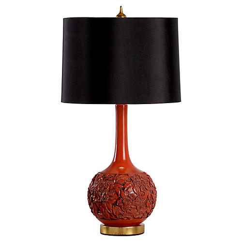Edith Table Lamp, Chinese Red/Gold