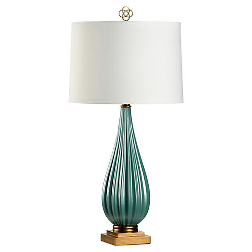 Bridget Table Lamp, Peacock Blue/Gold