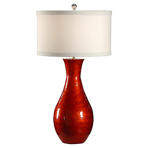 Lacquer Swirls Table Lamp, Red Lacquer