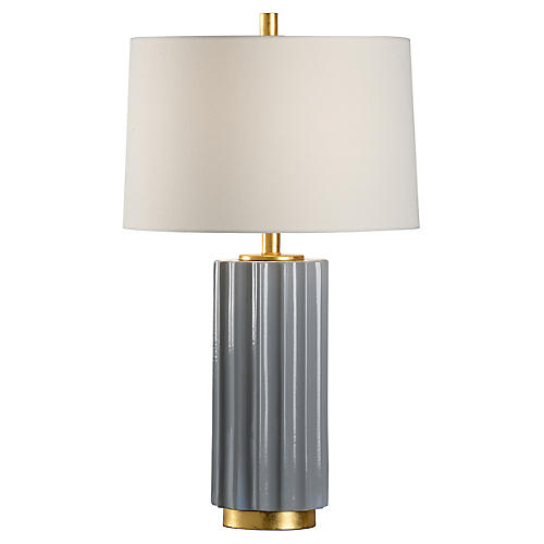 Mythos table lamp slate glaze gold wildwood