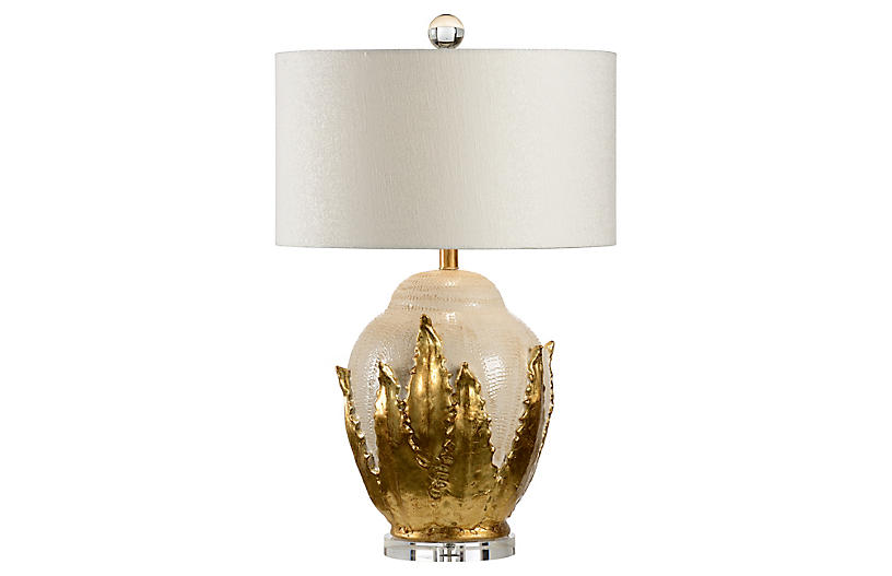 Agave Table Lamp, Cream Crackle/Gold