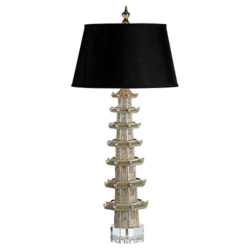 Suzhou Table Lamp, Antiqued Silver