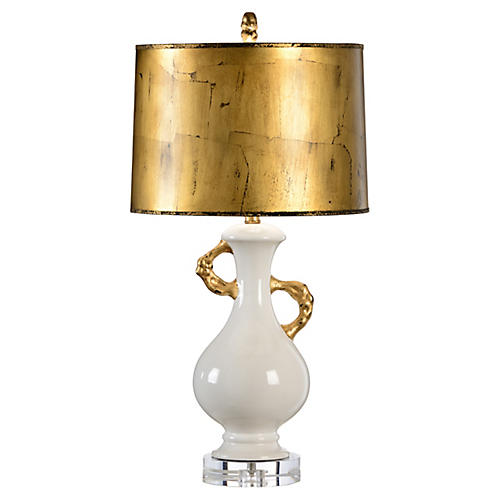 Hayworth Table Lamp, Pearl White/Gold