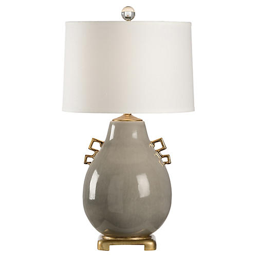 Ming Table Lamp, Slate Glaze/Gold