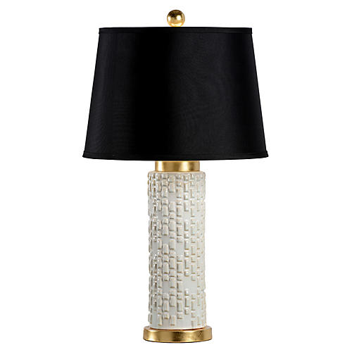Tobi Table Lamp, White Glaze/Gold