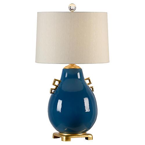 Ming Table Lamp, Largo Blue Glaze/Gold