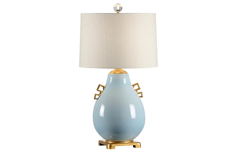 Ming Table Lamp, Powder Blue Glaze/Gold