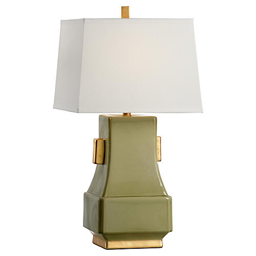 Mandarin Table Lamp, Kiwi Glaze/Gold