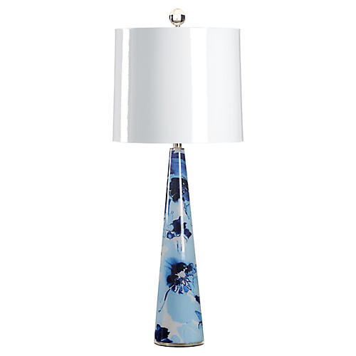 Lizzie Table Lamp, Blue/White