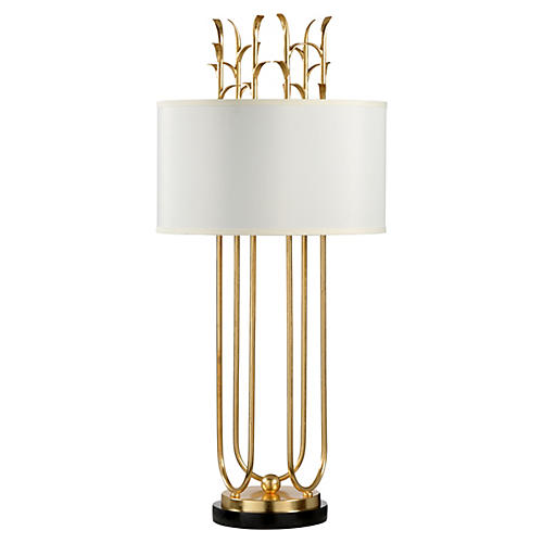 Julianne Marble Table Lamp, Gold/Black