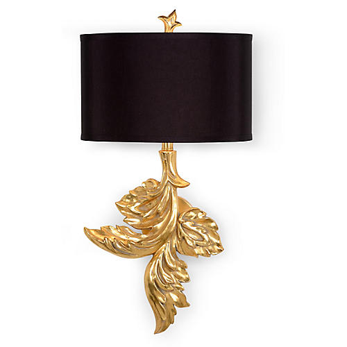 Gaylord Left-Facing Sconce, Gold Leaf