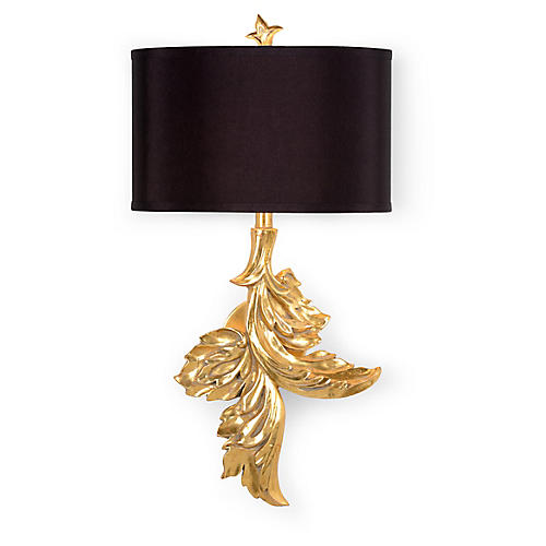 Gaylord Right-Facing Sconce, Gold Leaf