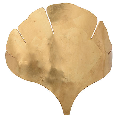 Ginkgo Sconce, Antiqued Gold Leaf