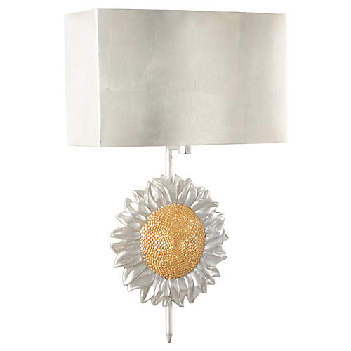 Sunflower Sconce, Distressed Silver/Gold
